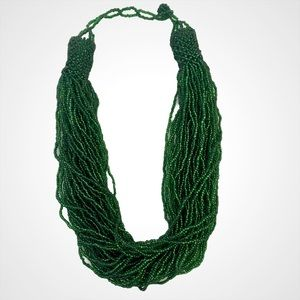 Green Multi String Beaded Statement Necklace